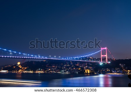 Fatih Sultan Mehmet Bridge at night. Istanbul / Turkey