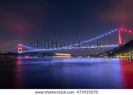 Fatih Sultan Mehmet Bridge at night Istanbul / Turkey