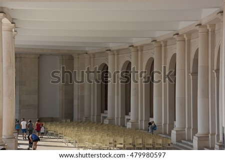 FATIMA, PORTUGAL - AUG 24: Sanctuary of Fátima in Portugal, as seen on Aug 24, 2016. It consists of a tall centralized bell-tower and nave, 213 ft in height, decorated by a 15,000 lb crown of bronze.