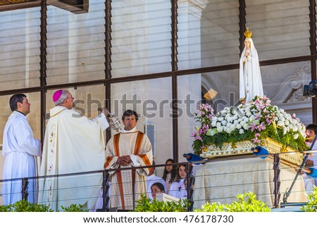 FATIMA, PORTUGAL - MAY 11, 2014 Mary of the Rosary Statue Celebration of Mary's Appearance Basilica of Lady of Rosary Fatima Portugal. Church where three Portuguese Shepherd children saw Virgin Mary