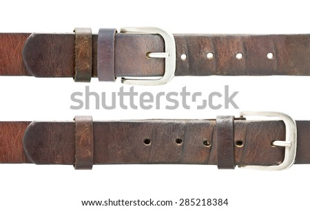 fatten and fat loss (old belt) isolated with clipping path  - stock photo