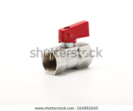 faucet and brass joints on white. - stock photo