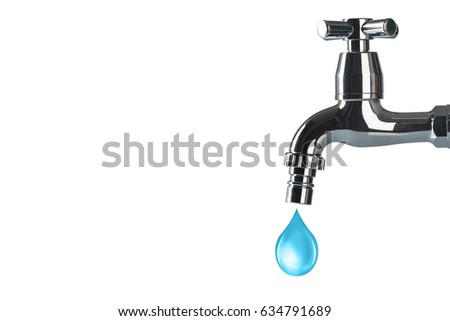 Faucet Water Drop On White Background Stock Photo (Royalty Free ...