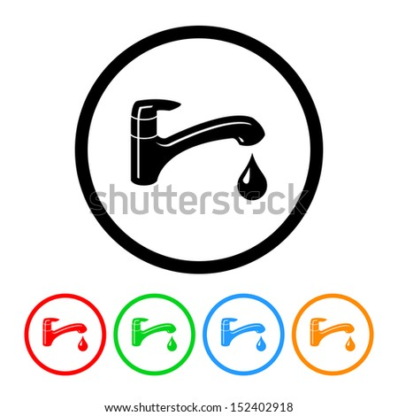 Faucet Icon with Color Variations.  Raster Version. - stock photo