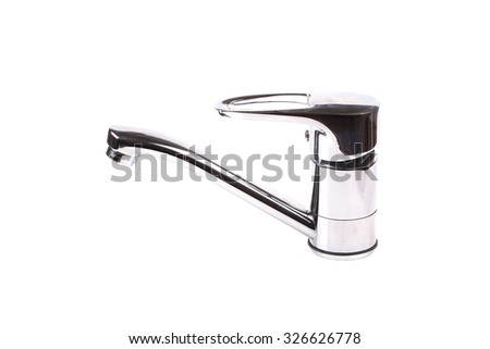 Faucet isolated on white background - stock photo