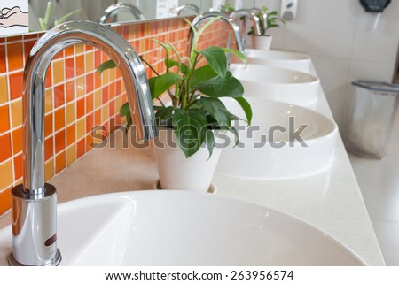 faucet of bathroom - stock photo