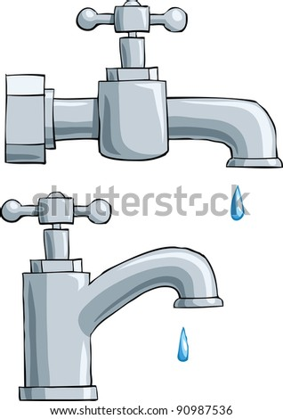 Faucet on a white background, raster