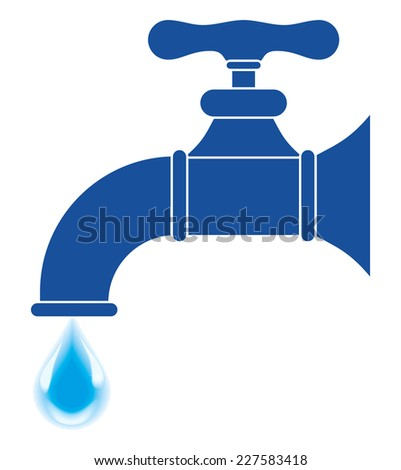 Faucet silhouette with drop - Illustration - stock photo