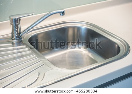 Faucet Sink and water tab decoration in kitchen room interior