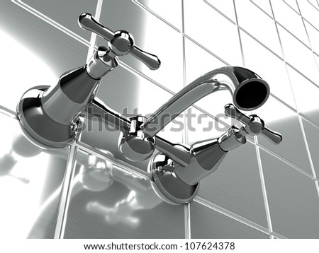 faucet vintage resting on the tiled wall - stock photo