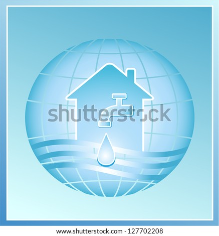 faucet with a clean drop of water against the background of the planet - stock photo