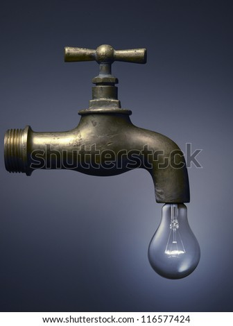 faucet with a light bulb, ecology concept for water and energy. - stock photo