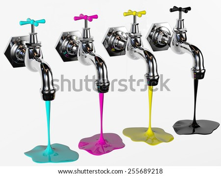 faucets with cyan magenta yellow and black rendered in 3d with clipping path - stock photo