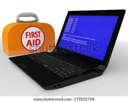 Faulty computer with system error and the first-aid set isolated on a white background - stock photo