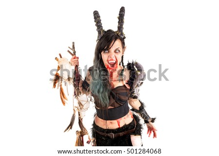 Faun sorceress with big horns and blood isolated in white
