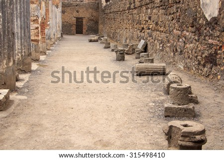 Fauno Villa interior in Pompeii, Italy. Pompeii is an ancient Roman city died from the eruption of Mount Vesuvius in the 1st century. - stock photo