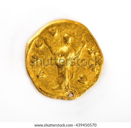 Faustina Senior, wife of Antoninus Pius, AD 138-161. Gold Aureus - stock photo