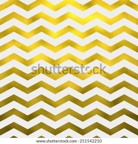 Faux Gold Foil Metallic on White Chevron Pattern Chevrons Texture Zig Zag Background - stock photo