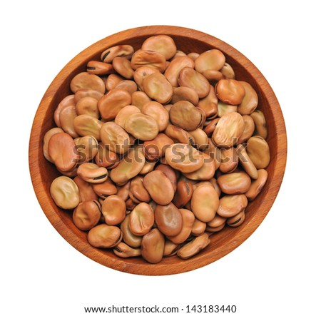 fava beans in wooden bowl  isolated on white background - stock photo