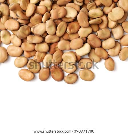 Fava beans,Vicia faba on white background - stock photo