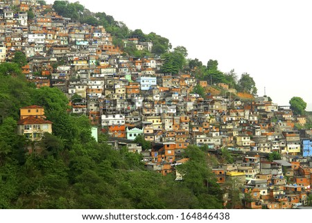 Favella in Rio de Janeiro, Brazil. - stock photo