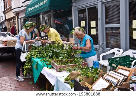 FAVERSHAM, UK-SEPTEMBER 1:Stall holders make up hop garlands for visitors at the annual Hop Festival, in Faversham, which celebrates traditional hop picking in Kent. September 1, 2013 , Faversham, UK. - stock photo