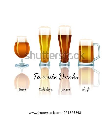 Favorite Beer Set isolated. Bitter, Light Lager, Porter and Draft - stock photo