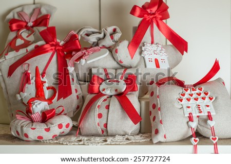 Favors on a table outdoor with boxes for wedding event selective focus - stock photo