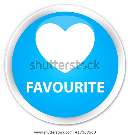 Favourite (heart icon) cyan blue glossy round button - stock photo