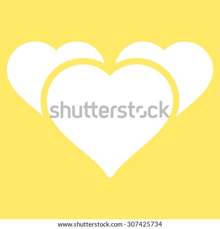 Favourites icon. Glyph style is flat symbols, white color, rounded angles, yellow background. - stock photo