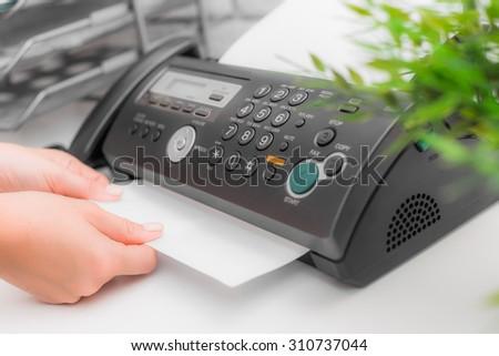 Fax machine, office - stock photo