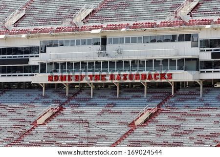 FAYETTEVILLE, AR - OCTOBER 4: The Donald W. Reynolds Razorback Stadium sits empty on October 4, 2012. The stadium is home to the University of Arkansas Razorbacks football team. - stock photo