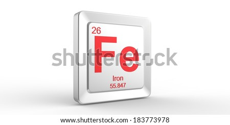 Fe symbol 26 material for Iron chemical element of the periodic table  - stock photo