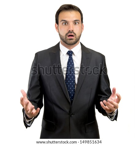 fear business man over isolated white background - stock photo