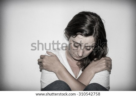 Fear, loneliness and depression - stock photo