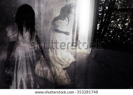 Fear Night,Ghost in Haunted House,Mysterious Woman in White Dress Standing in Abandon Building,Horror Background For Halloween Concept and Book Cover Ideas  - stock photo