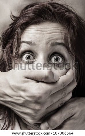 Fear of woman victim of domestic violence and abuse - stock photo
