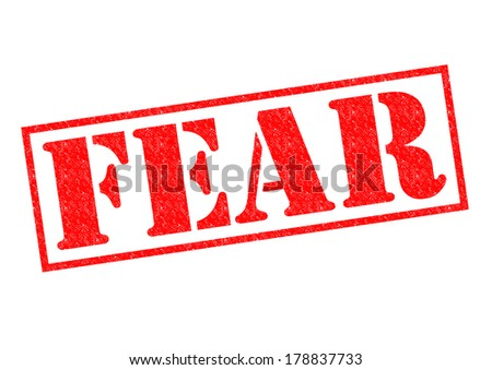 FEAR red Rubber Stamp over a white background.