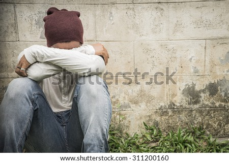 Fear, sadness and abuse - stock photo