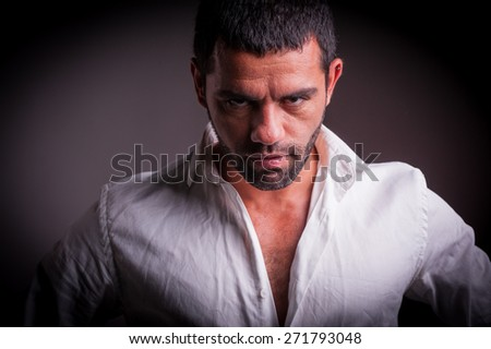 fearless strong man - stock photo