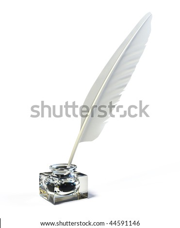 Feather and ink bottle - 3d render - stock photo