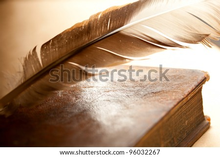Feather and old book - stock photo