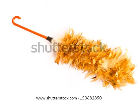 Feather broom for cleaning isolated on white background