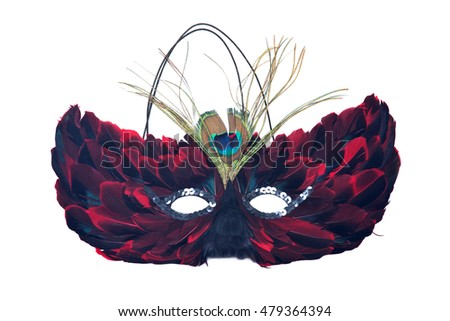 Feather cat mask separated on white background