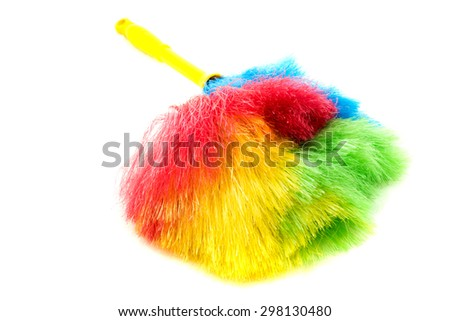 Feather cleaning on isolated white background - stock photo