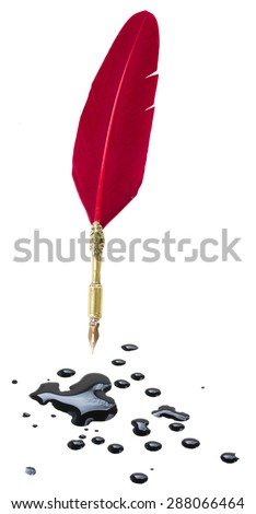Feather pen and blots isolated on white background - stock photo