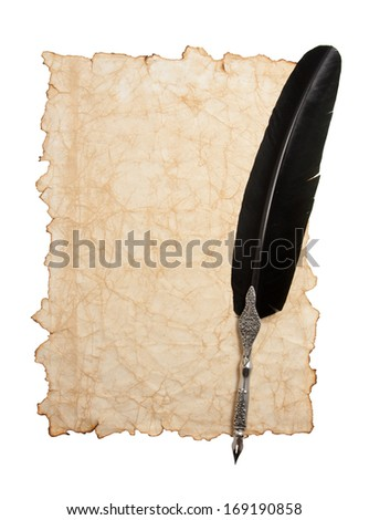 Feather pen and ink bottle on old paper background - stock photo