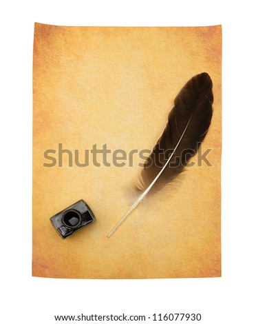 Feather pen on the old yellowed paper. Isolated on a white background. - stock photo