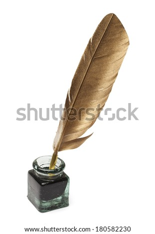 Feather Quill and Glass Ink Bottle Isolated on White Background.