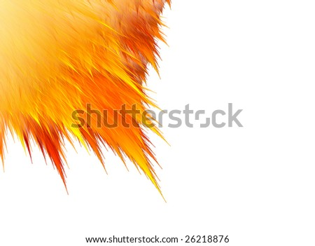 Feathery abstract fractal in shades of red and orange.